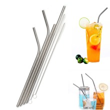 for 20oz 30oz Tumbler Party Bar Accessories Reusable Bent Straight Stainless Steel Straws Metal Straw Cocktail Drinking Straw цены