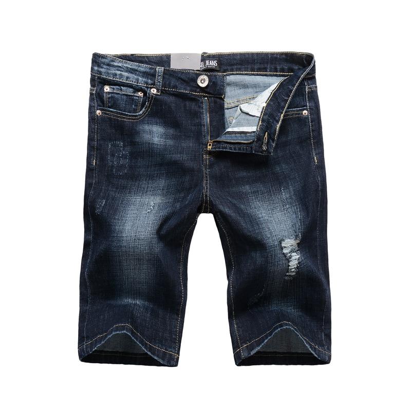 2019 Summer Fashion Men's Shorts High Quality Dark Blue Color Slim Fit Elastic Ripped Short Jeans Stretch Denim Shorts Men