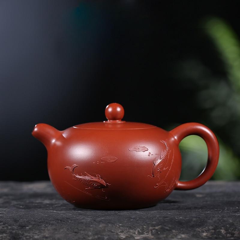 200 мл Исин Аутентичные фиолетовый глина Чай горшок известный Скульптура рыбок сырой руды Zisha горшок домой Кунг фу Чай комплект Чёрный Чай Ча