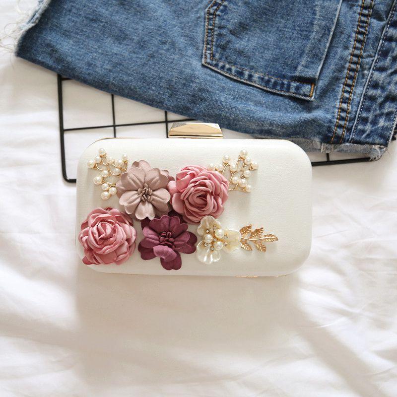 pérola carteira bolsa de noite (branco)