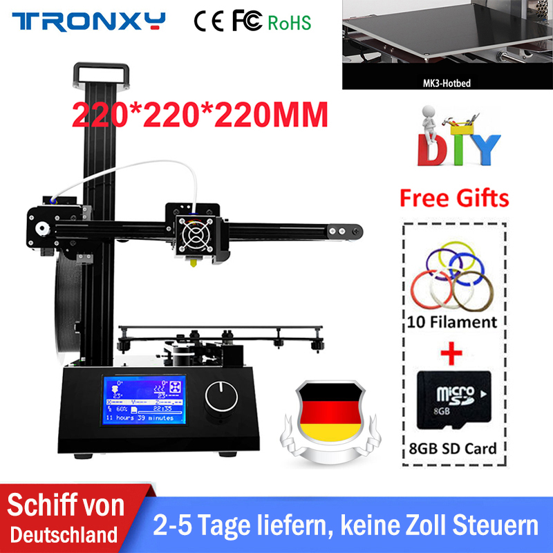 Tronxy High Precision 3D Printer Kit Industrial High Quality All Metal Large Printing Size 220*220*220mm 10m Filament 8G SD Card tronxy 3d printer all metal upgrade frame 3 3 lcd screen dual z axis extruder 3d printer diy kit 10m filament 8g sd card gift