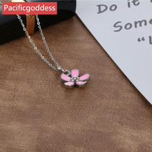 pacificgoddess hot sell stainless steel flower sharp pendant chains Necklace elegant bijou for pretty girl