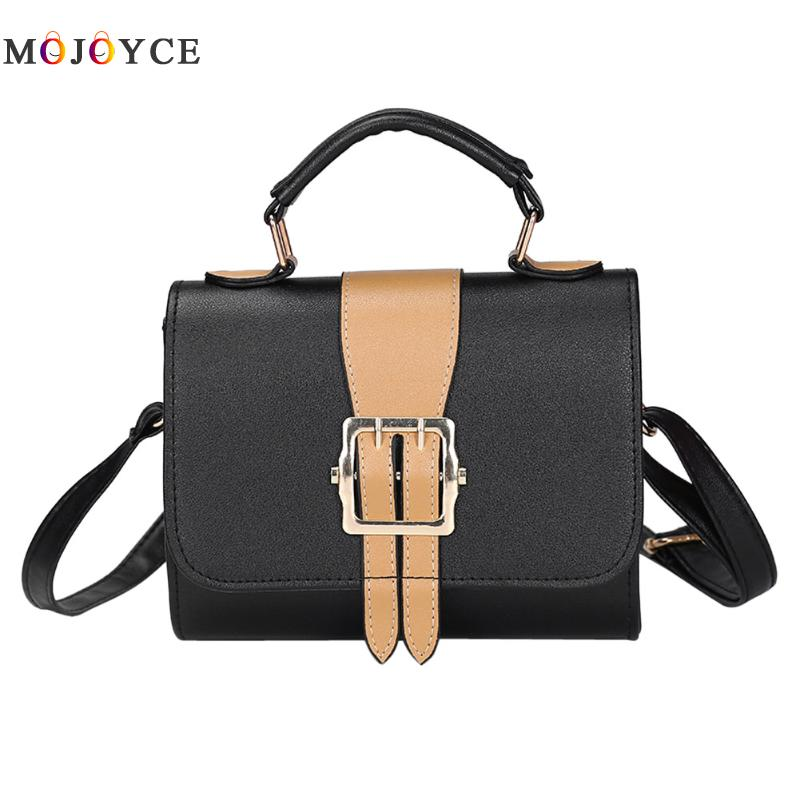 Women PU Leather Mini Hasp Handbags Hit Color Crossbody Shoulder Sling Bags Fashion Girls chain shoulder bag