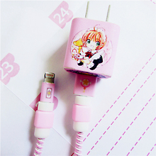 5PCS Cartoon Pink Stylel Cable Winder USB Data Protector Set with Charger stickers Spiral Cord protector For iPhone7p 6S 8