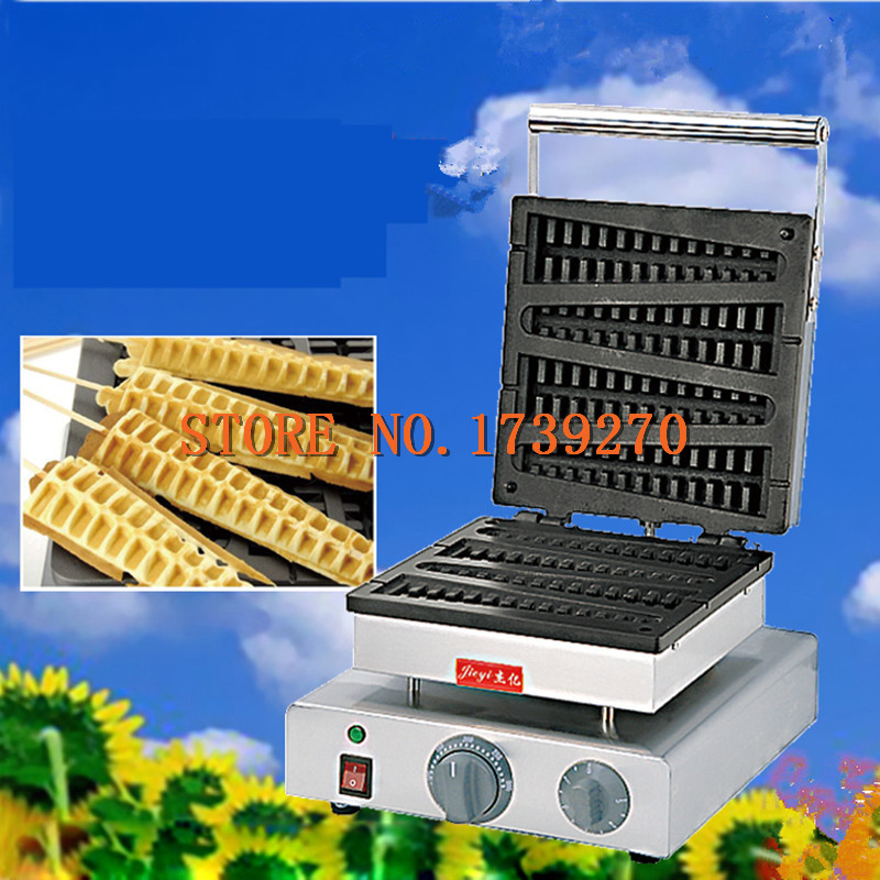Stainless Steel 4 Stripes Waffle maker Lolly Waffle maker 1750W Commercial Corn Waffle machine Pine Waffle make Machine lolly waffle baker commercial snack machine stainless steel tower shaped lolly waffle machine with six pcs lolly waffle moulds