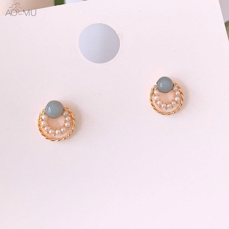0c97f2adb1b5 AOMU dulce perla oro Metal geométrico pequeño círculo redondo hueco Boucle  Stud pendientes para mujer chica boda Brincos - www.salleram.ga