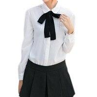 Elegant Womens White Blouse Peter Pan Collar Ladies Summer Tops 2017 Preppy Style School Girls Bow