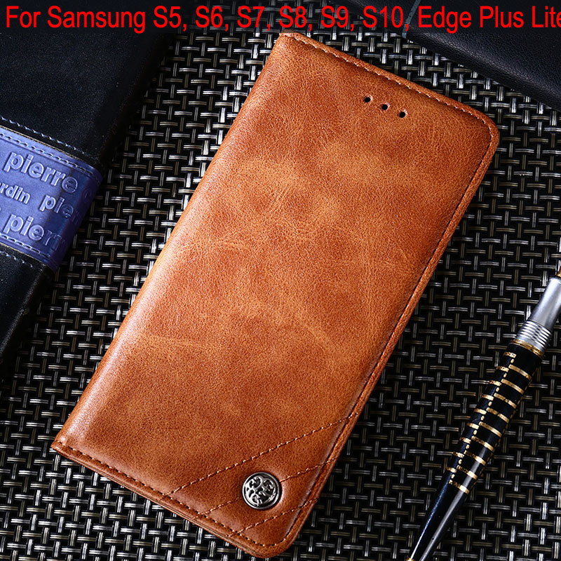 <font><b>Case</b></font> for <font><b>samsung</b></font> galaxy s5 <font><b>s6</b></font> s7 s8 s9 s10 5g <font><b>edge</b></font> Plus lite coque Luxury Leather phone <font><b>case</b></font> <font><b>Flip</b></font> cover Stand Without magnets image