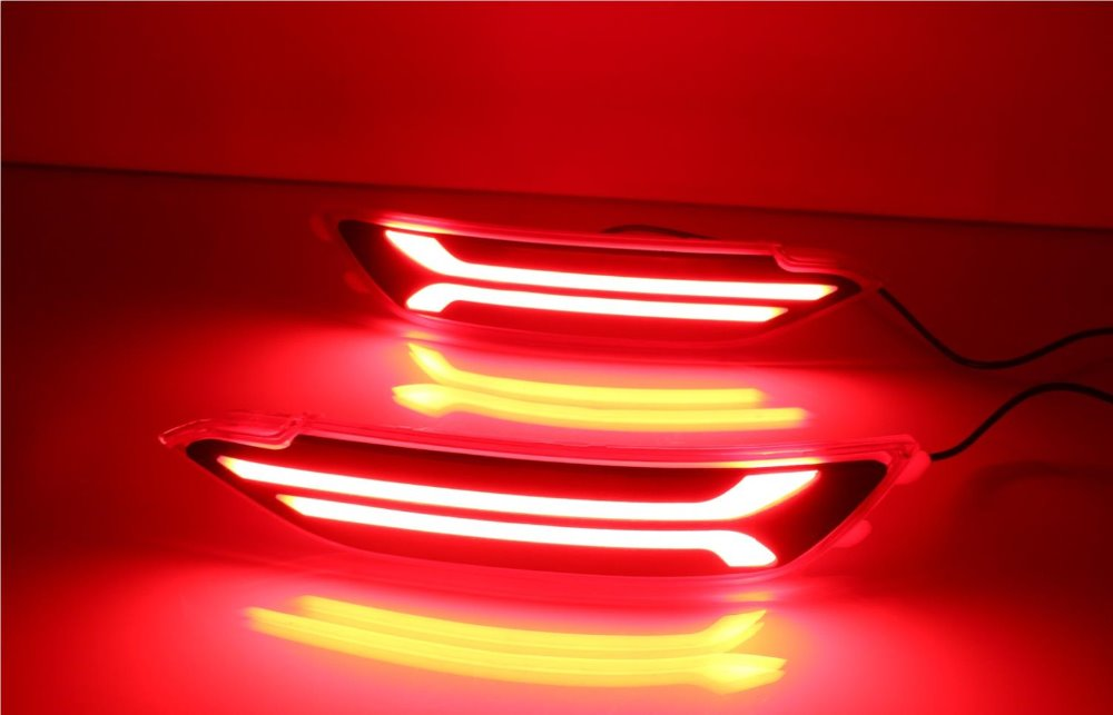 eOsuns led rear bumper light, driving lamp, moving brake light, turn signal for hyundai tucson 2015-16, wireless switch control 4pcs set smoke sun rain visor vent window deflector shield guard shade for hyundai tucson 2016