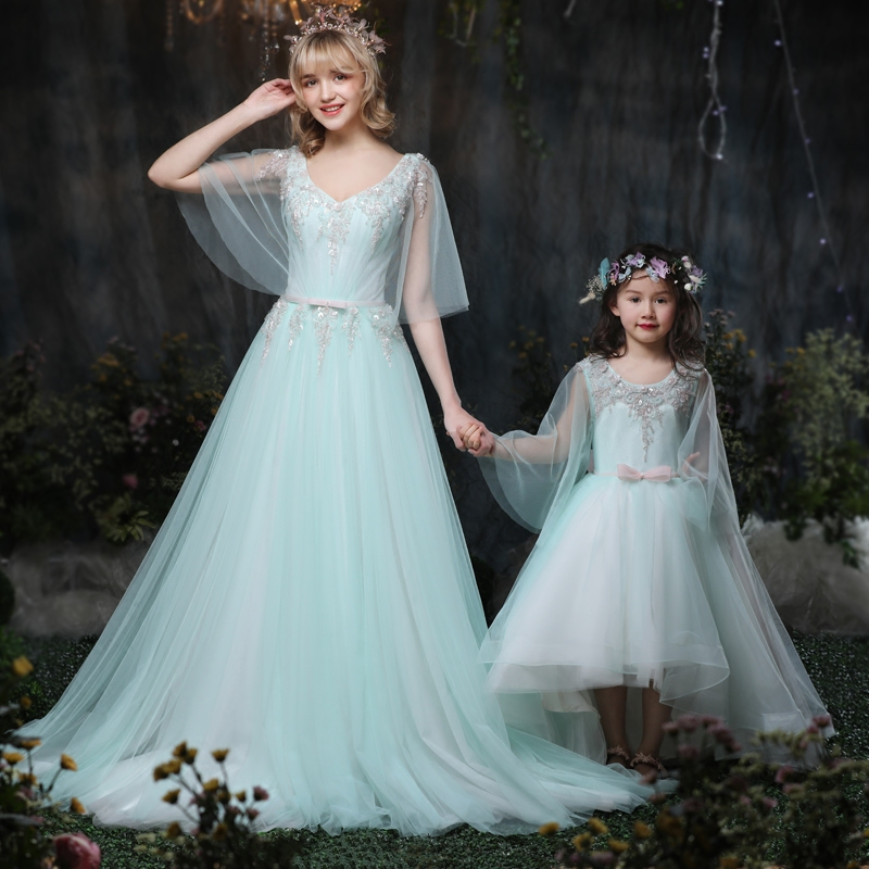 Mother Daughter Wedding Dresses Ball gown Maternity Dress Mom and Baby Girl Dress Clothes Photography Pregnancy family outfits girl