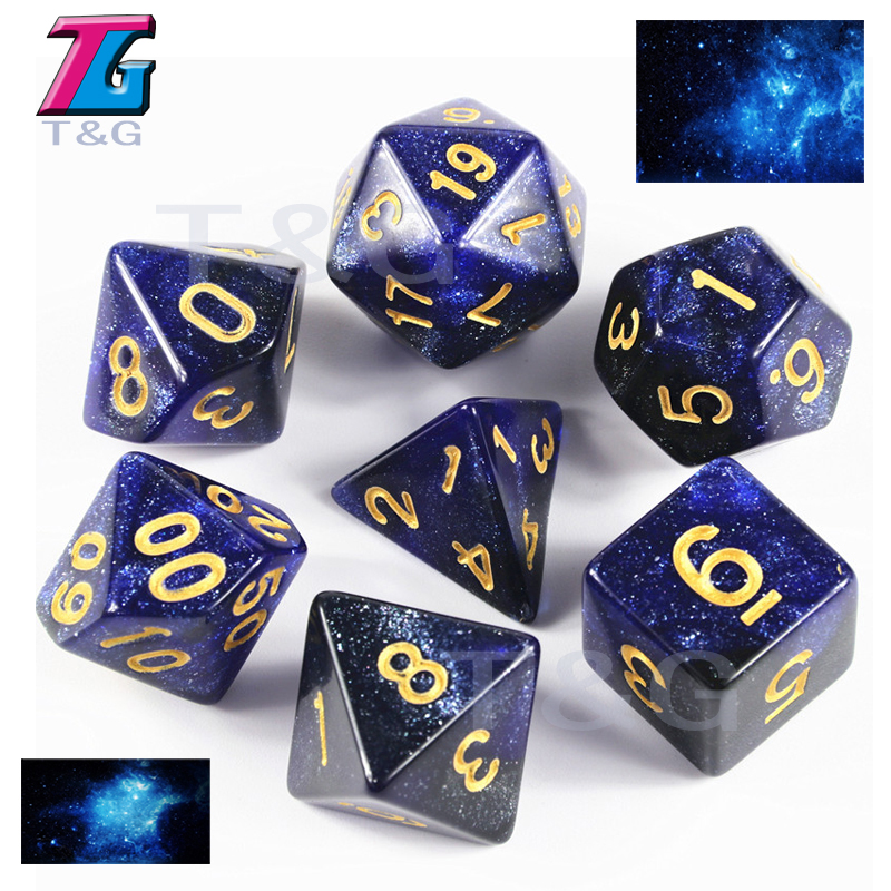 Royal Blue 7Pcs Polyhedral Dice Game Fun Party Bar Games Hobbies Christmas Gifts Dices