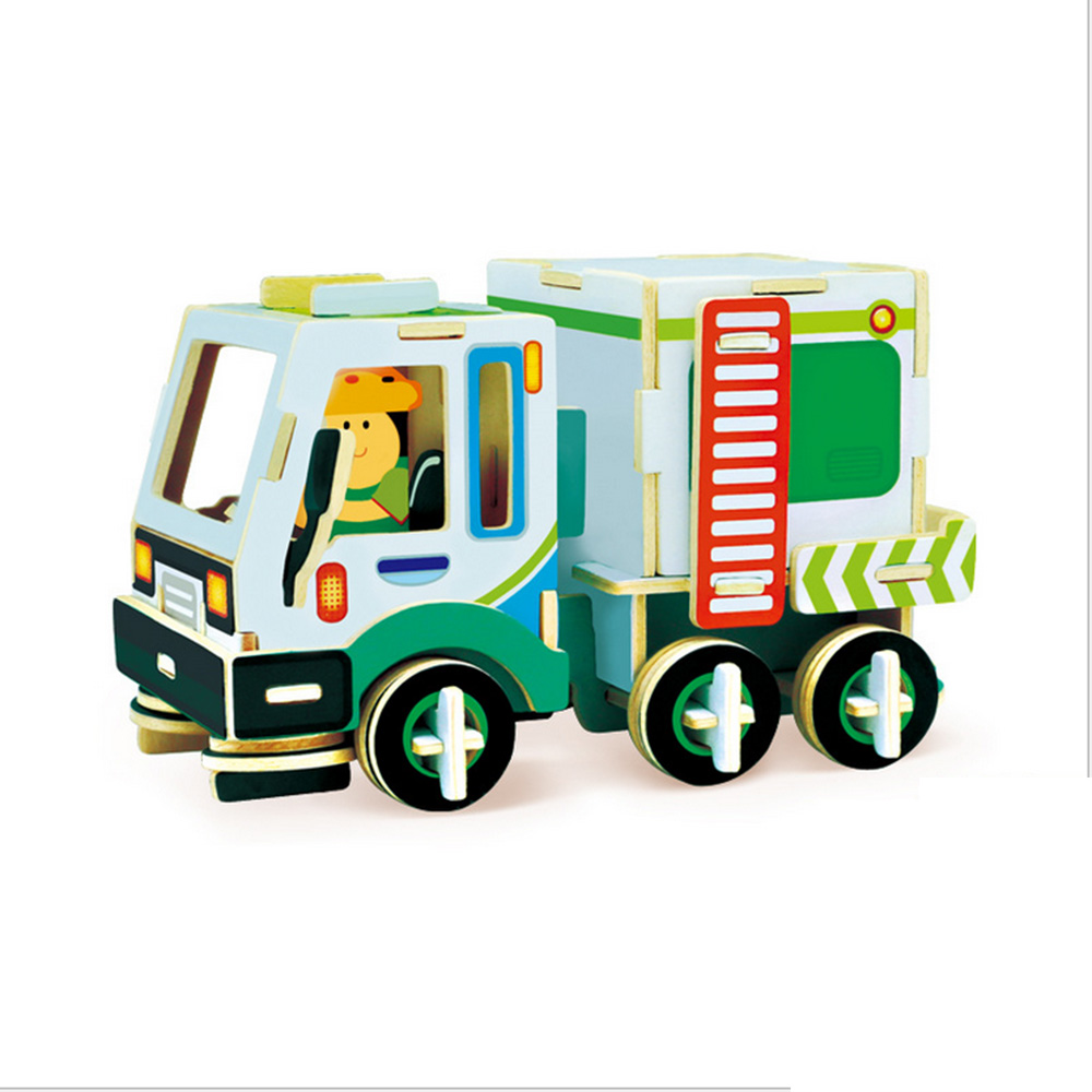 3D Puzzle Games Wooden Clean Car Colorful Wooden Model Kit Children Gift Educational 3D Model Puzzle Wooden Educational Toy qiyun 3 d wooden puzzle children and adult s educational building blocks puzzle toy pig model