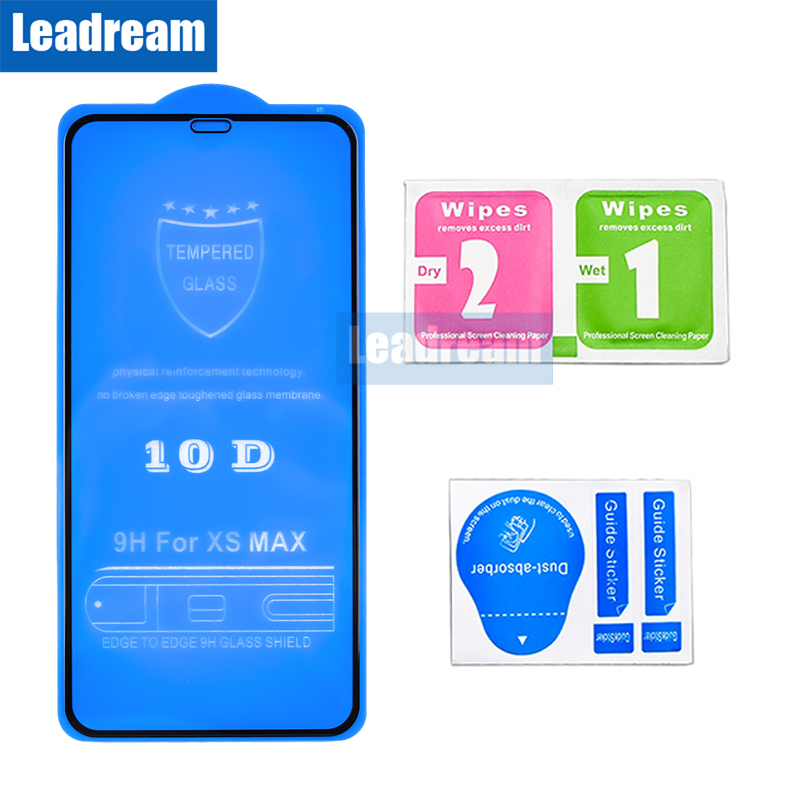 Leadream 100pcs 10D Full Screen Protectors For iPhone 6 6S 7 8 Plus X XR Tempered
