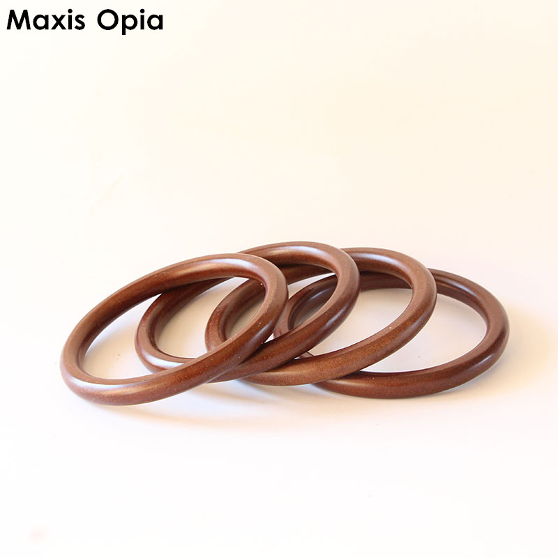 One Pairs=Two Piece O Shape Brown Color OBag obag handles for handbags Wood bag handles suitcases Fashion DIY Wooden Purse Frame