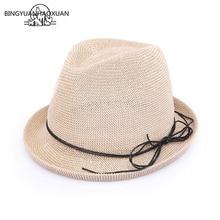 BINGYUANHAOXUAN Nueva Moda Plana Arco Jazz sombrero de Paja sombrero para  el Sol Sombrero del Verano de Las Mujeres sombreros Pa. dfe26e6a3ca