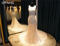 Custom Made Vestido De Noiva Lace Mermaid Wedding Dresses 2017 Scoop Sleeveless Zipper Sweep Train Applique