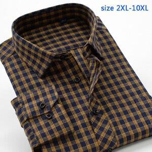 Image 2 - جديد وصول منقوشة موضة ربيع الخريف عالية qulatiy الرجال سوبر كبير السمنة 10XL طويلة الأكمام قميص حجم كبير XXL 7XL8XL9XL10XL
