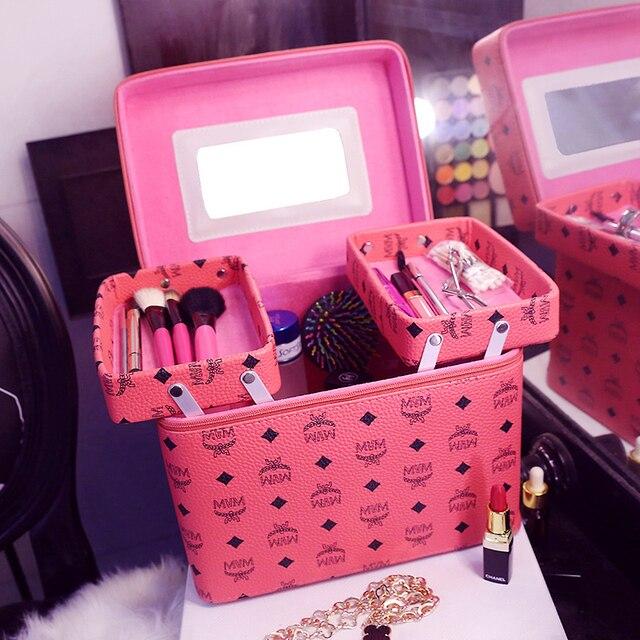 Fashion Women Travel Makeup Make up Organizer Box Beauty Multi Layer Large Capacity Women Storage cosmetic bag for cosmetics