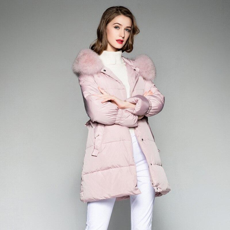 210e0d30475c Lungo colore Piume Piuma Giacca Chaqueta Bianca Cappotto Donne Nero Rosa Delle  Beige Mujer il Di Inverno ...