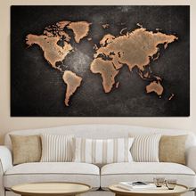 X103 YIKEE wall painting scandinavian on canvas map poster and prints vintage for living room decoration pictures