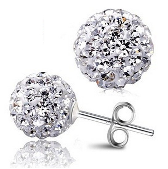 af60e3eeb Real 925 Sterling Silver Sparkle 10mm Round Shambala Austian Crystal Ball  Stud Earrings For Women Wedding Party Fashion Jewelry