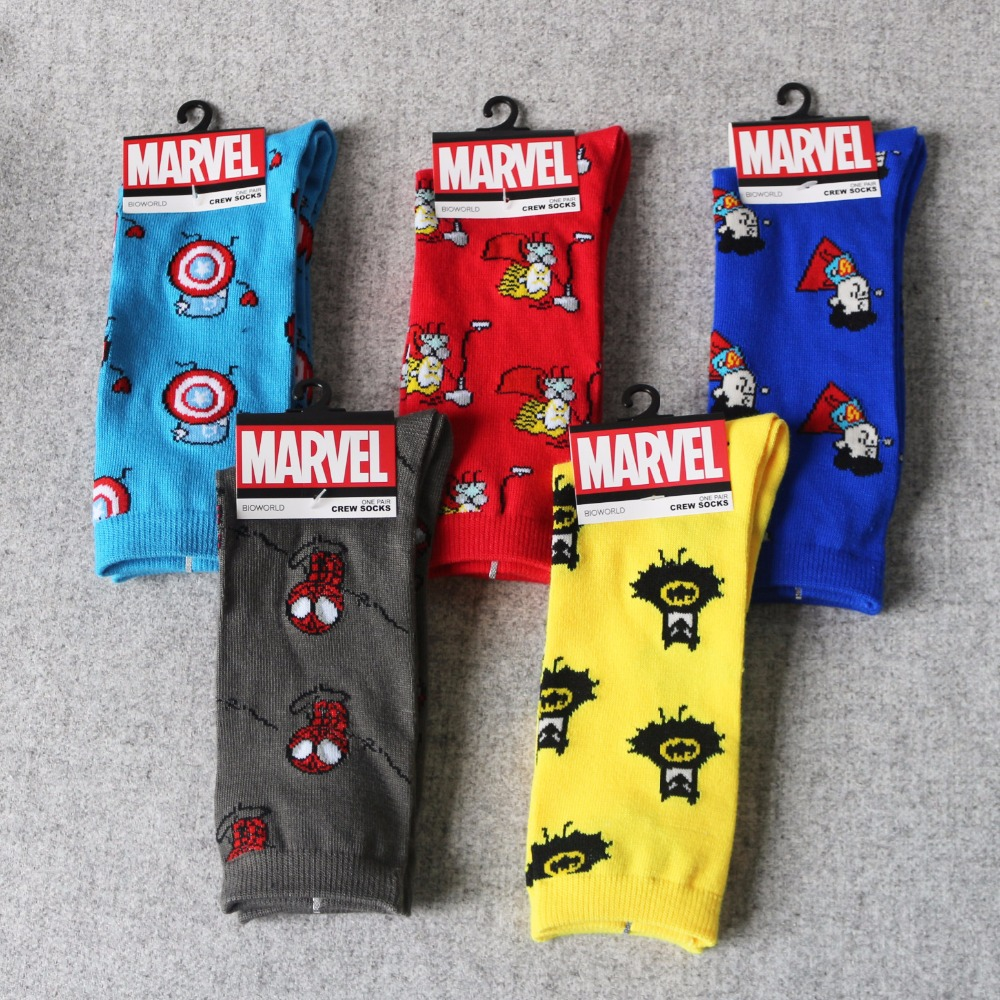 Men Socks Marvel Comics Hero Socks Cartoon Iron Man Captain America Cosplay Knee-High Socks Spiderman Thor Hulk Casual Socks