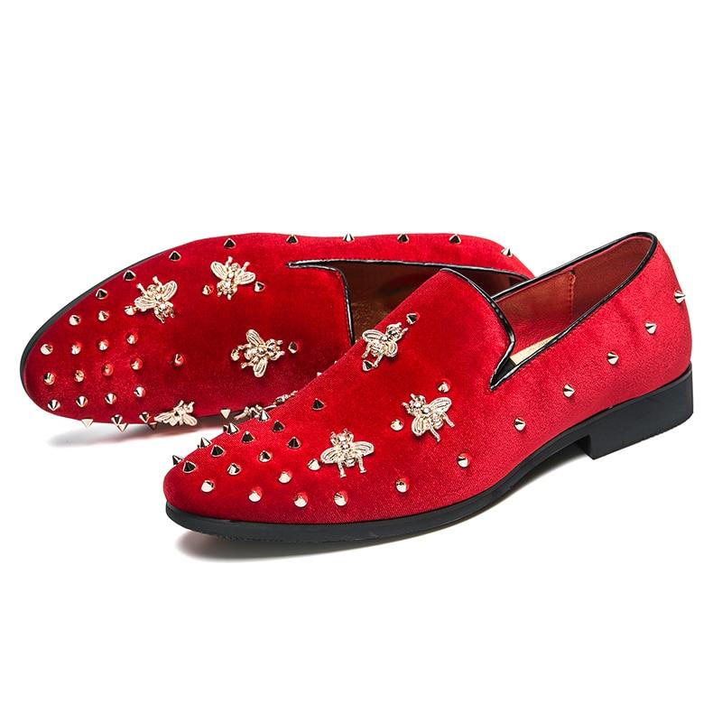 HTB1QU9Vd8Cw3KVjSZFuq6AAOpXaX New Fashion Gold Top and Metal Toe Men Velvet Dress shoes Italian men's dress shoes Handmade Loafers