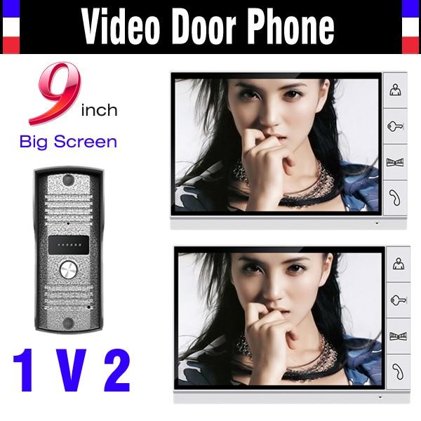 New 9 Inch monitor video door phone intercom System video doorbell pinhole camera 2-Monitor video intercom kit for villa home