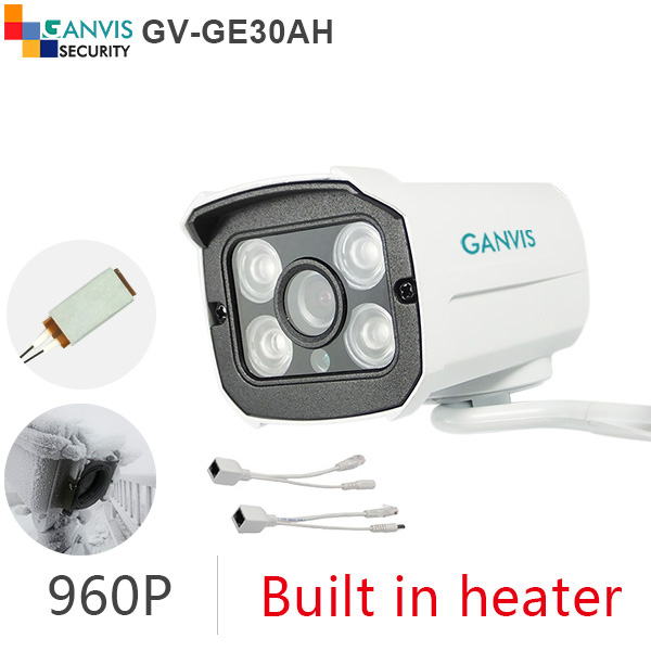 ФОТО Harsh winter use IP camera outdoor 1.3mp 960P 720P HD mini cctv camera audio network surveillance GANVIS GV-GE30AH poe cable kit