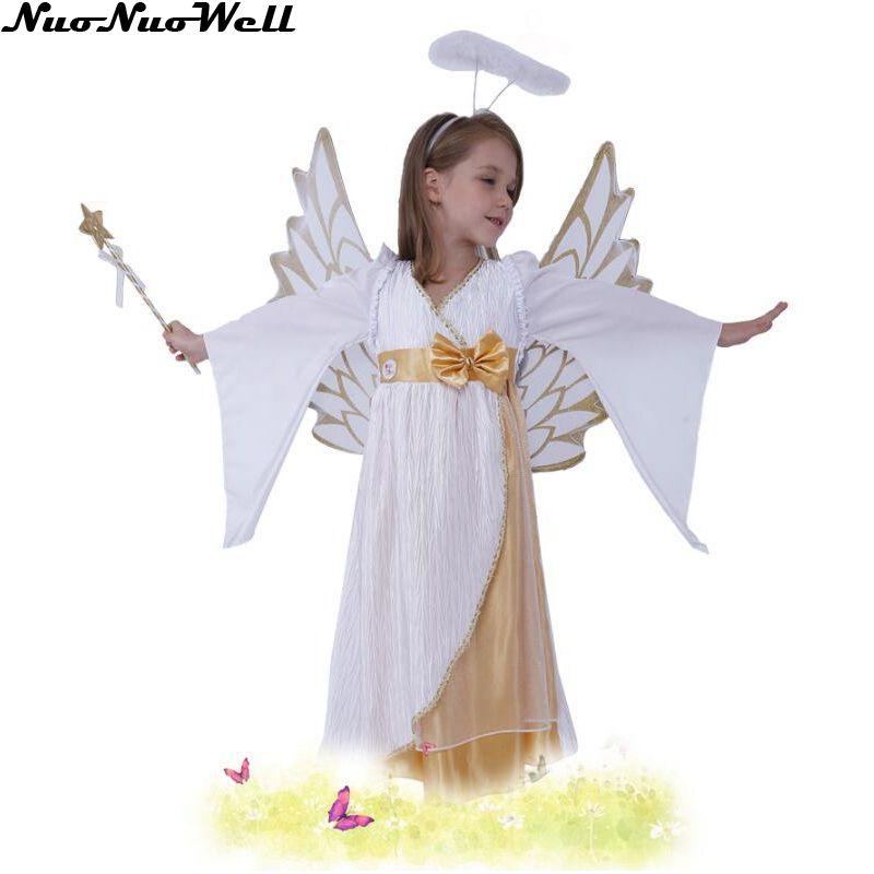 Bambine Sveglio Di Angelo Della Neve Lungo Bianco Vestito Di