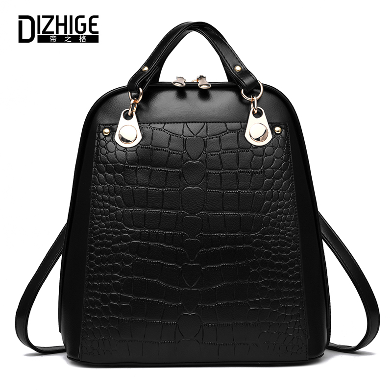 DIZHIGE Brand Fashion Alligator Women Backpack School Bags For Teenager Girls High Quality PU Leather Backpack Women 2017 New dizhige brand women backpack high quality pu leather school bags for teenagers girls backpacks women 2018 new female back pack