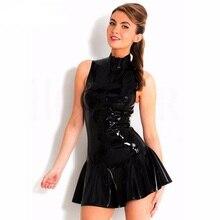 Sexy Black Leather PVC Women Club Dress