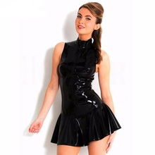 Sexy Black Leather PVC Club Dress Bodycon Party Dresses Ladies Slimming Waist Vestidos Outfits Clubwear Costumes XXL