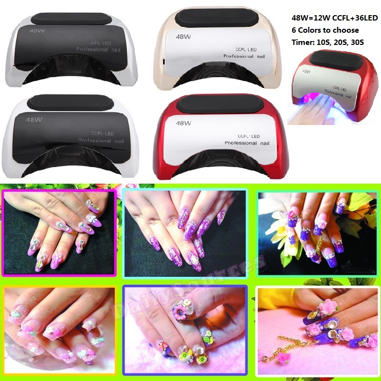 48w led UV lamp for nail Polish Gel fast dry Curing Nail tools with automatic hand sensor EU AU US UK plug 12W CCFL + 36W LED melodysusie 12w lamp nail for nail polish gel fast dry curing nail tools black white pink 2 colors nail dryer free shipping