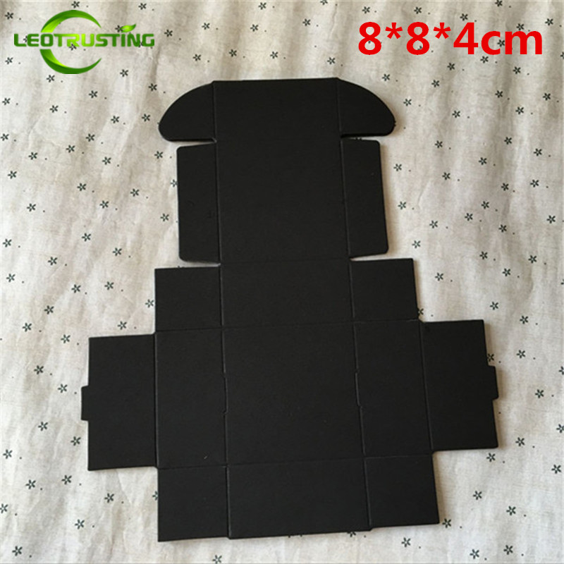 Leotrusting 50pcs 8*8*4cm Small Blank Black Paper Box Black Cardboard Paper Gift Packaging Box Handmade Wedding Paper Boxes