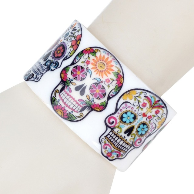 Bonsny Plastic Floral Halloween Smile Skeleton Skull Bangles Bracelets Punk Indian Craft Jewelry For Women Girls Teens Accessory 4
