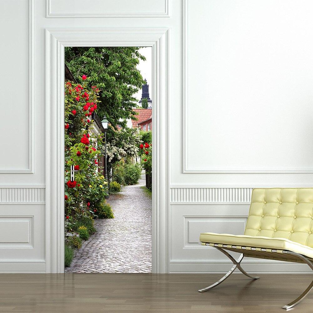 Belle Rose vinyle Stickers muraux en bois porte rénovation décorative porte autocollants pour chambre salon décor à la maison DM048