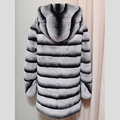 winter genuine natural thick whole skin rex rabbit fur coat striped long hooded outerwear coats blue purple women clothing