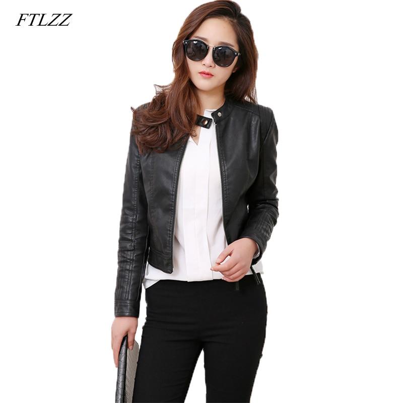 FTLZZ Faux   Leather   Pu Jackets Coats Spring Winter Coats Female Jackets Women Casual Zipper Streetwear Black Jackets Femme