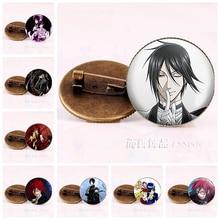 Купить с кэшбэком Anime Black Butler Brooches Bronze Badge Kuroshitsuji Ciel Phantomhive Sebastian Grell Madame Red Cosplay Gift