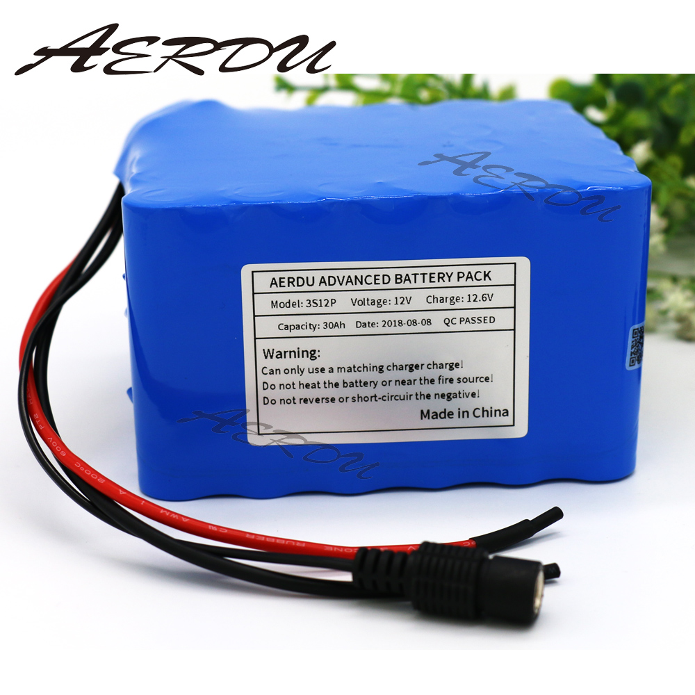 AERDU 3S12P 12V 30Ah 11.1V 12.6V High Power Rechargeable lithium ion battery pack with 60A BMS For 700watt device eg. inverter