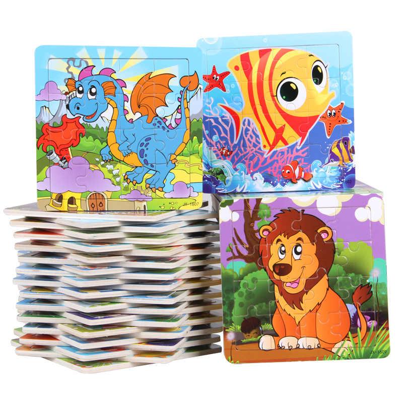 Rompecabezas de madera en 3D rompecabezas dinosaurio animal de dibujos tren de peces león rompecabezas de madera rompecabezas de educación cultiva para niños rompecabezas juguetes de rompecabezas regalos