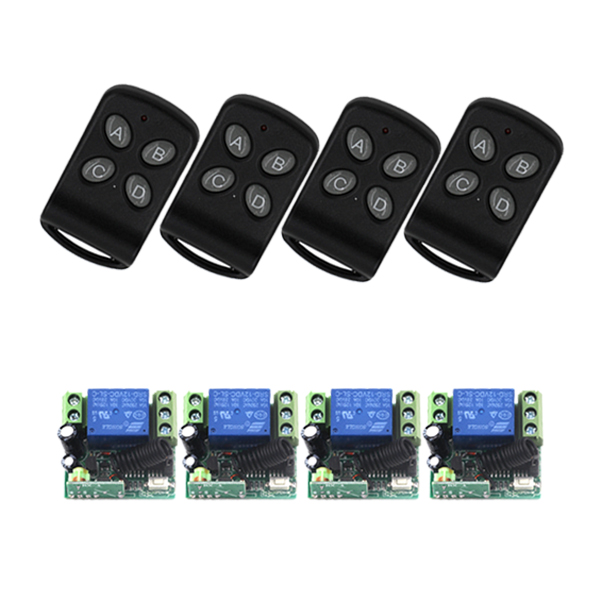 DC 12V 1 CH 1CH RF Wireless Remote Control Switch System,315/433 MHZ 4CH Transmitter And 4 X Receivers,Jog/Self-lock SKU: 5557