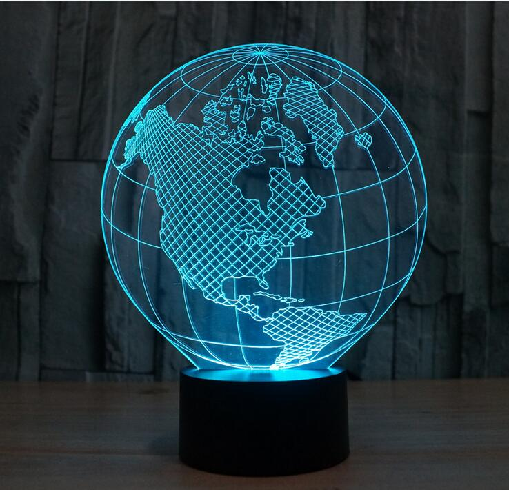 EF-LNL31-1 ... - Bulbing Light 3D LED Lamp Featuring 3D Wire Frame Images Earth