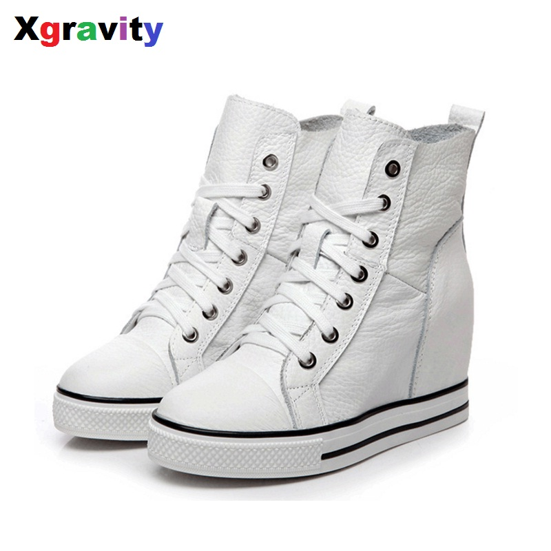 2017 New Unique Heel Increasing Lady Fashion Ankle Wedge Boots Litchi Skin Genuine Leather Women Warm Shoes Winter Boots S011 nayiduyun women genuine leather wedge high heel pumps platform creepers round toe slip on casual shoes boots wedge sneakers