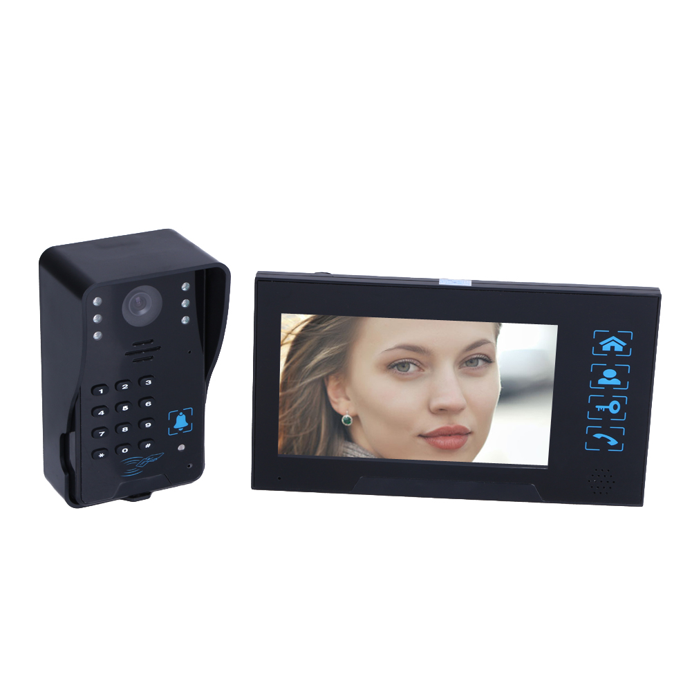 HD Villa-Type Video Doorbell 7 inch Wired Video Door Phone System Visual Intercom Doorbell Calendar Model Comes With Memory Card 7 inch wired high definition swipe card embedded installation video doorbell