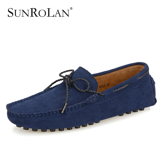 6ae423f4164 SUNROLAN 2017 New Spring Men Penny Loafers Suede Leather Bow Male Moccasins  Boat Shoes Men Driving Suede Loafers Shoes YLW9388