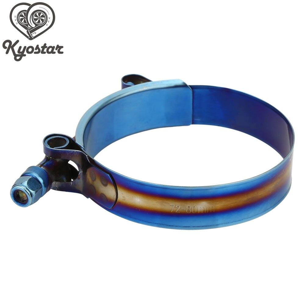78-86mm Kyostar Stainless Steel T-Bolt Clamp Assortment Adjustable Titanium Blue Clamp Diameter Ranger for 3 inch