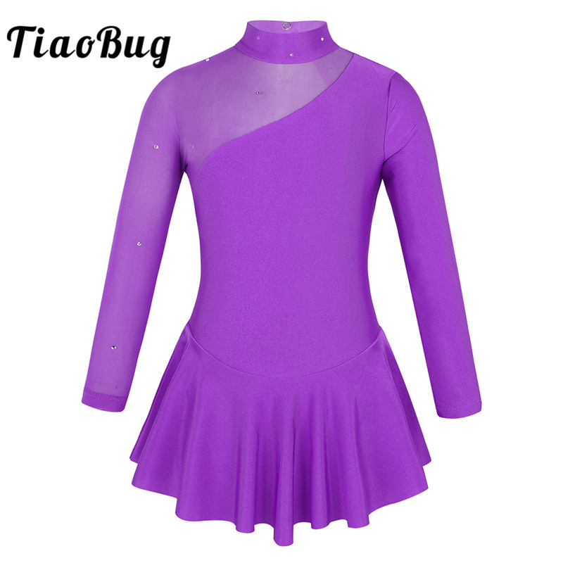 TiaoBug Kids Girls Rhinestone Tulle Long Sleeves Ballroom Figure Ice Skating Dress Child Gymnastics Leotard Ballet Dance Costume