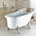 Polished Chrome Waterfall Spout Free Standing Bathtub Mixer Faucet Single Handle with Handshower Tub Filler